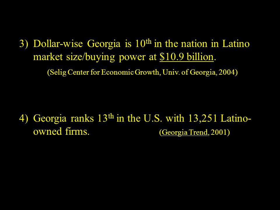 3)Dollar-wise Georgia is 10 th in the nation in Latino market size/buying power at $10.9 billion.