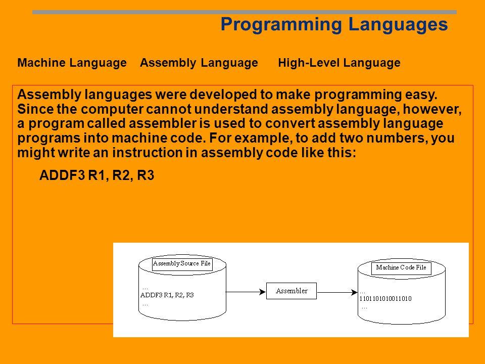 Programming Languages Machine Language Assembly Language High-Level Language Machine language is a set of primitive instructions built into every comp