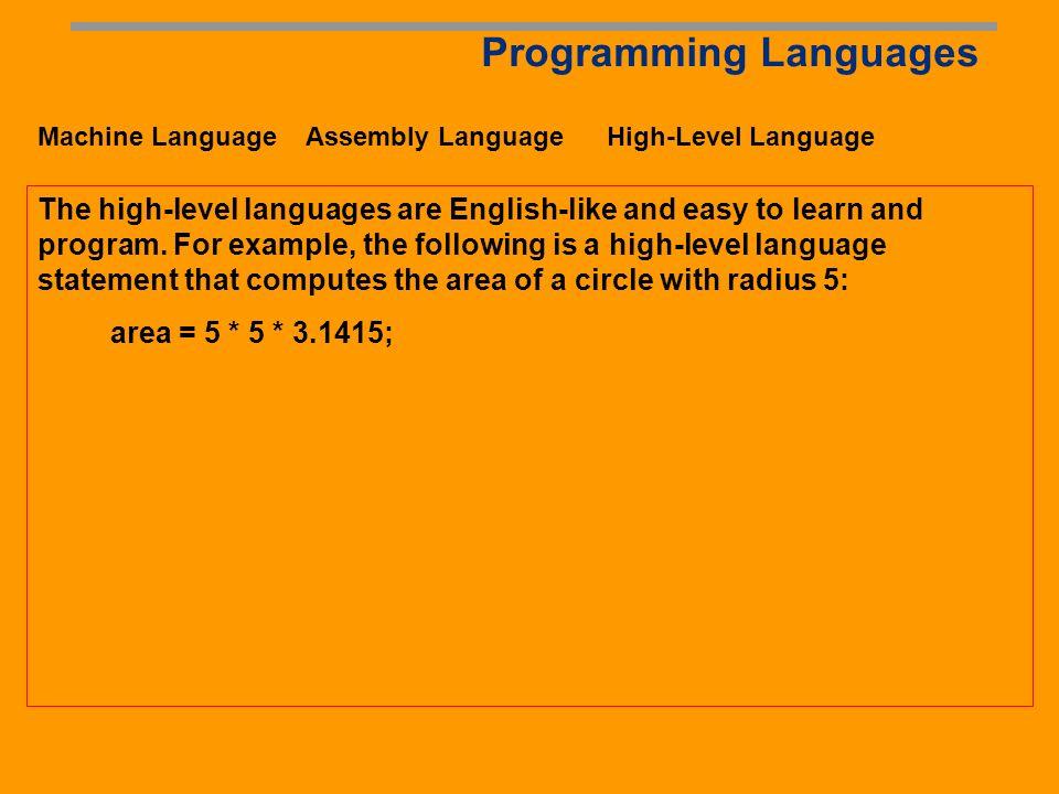 Programming Languages Machine Language Assembly Language High-Level Language Assembly languages were developed to make programming easy.