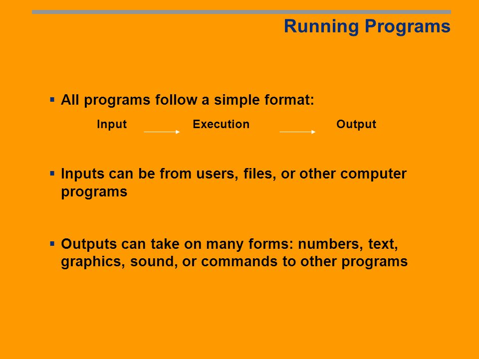 Compiling Programs Computers do not understand the languages (C++, Java, etc) that programs are written in.