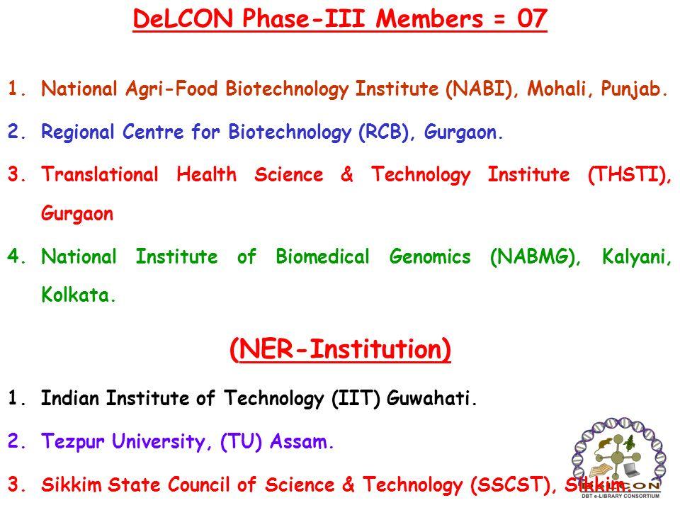 DeLCON Phase-III Members = 07 1.National Agri-Food Biotechnology Institute (NABI), Mohali, Punjab. 2.Regional Centre for Biotechnology (RCB), Gurgaon.
