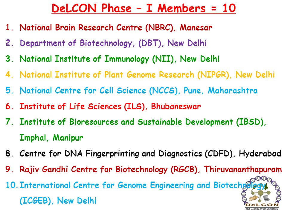 DeLCON Phase – I Members = 10 1.National Brain Research Centre (NBRC), Manesar 2.Department of Biotechnology, (DBT), New Delhi 3.National Institute of