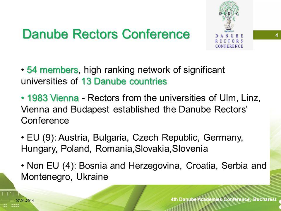 07.01.2014 4 54 members 13 Danube countries 54 members, high ranking network of significant universities of 13 Danube countries 1983 Vienna 1983 Vienn