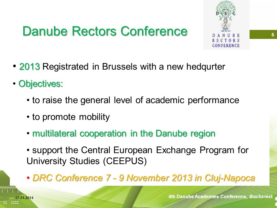 Danube Rectors Conference Over 3 Million Students and Staf 6 4th Danube Academies Conference, Bucharest
