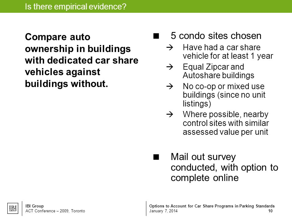 Options to Account for Car Share Programs in Parking Standards January 7, 2014 IBI Group ACT Conference – 2009, Toronto 10 Is there empirical evidence.