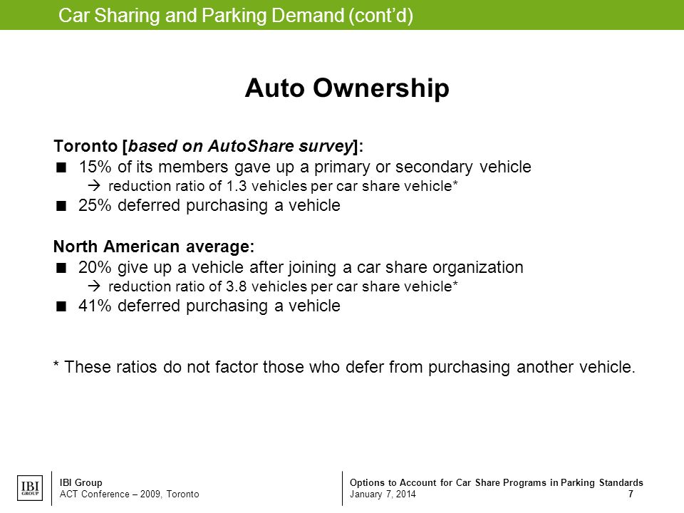 Options to Account for Car Share Programs in Parking Standards January 7, 2014 IBI Group ACT Conference – 2009, Toronto 7 Car Sharing and Parking Demand (contd) Auto Ownership Toronto [based on AutoShare survey]: 15% of its members gave up a primary or secondary vehicle reduction ratio of 1.3 vehicles per car share vehicle* 25% deferred purchasing a vehicle North American average: 20% give up a vehicle after joining a car share organization reduction ratio of 3.8 vehicles per car share vehicle* 41% deferred purchasing a vehicle * These ratios do not factor those who defer from purchasing another vehicle.