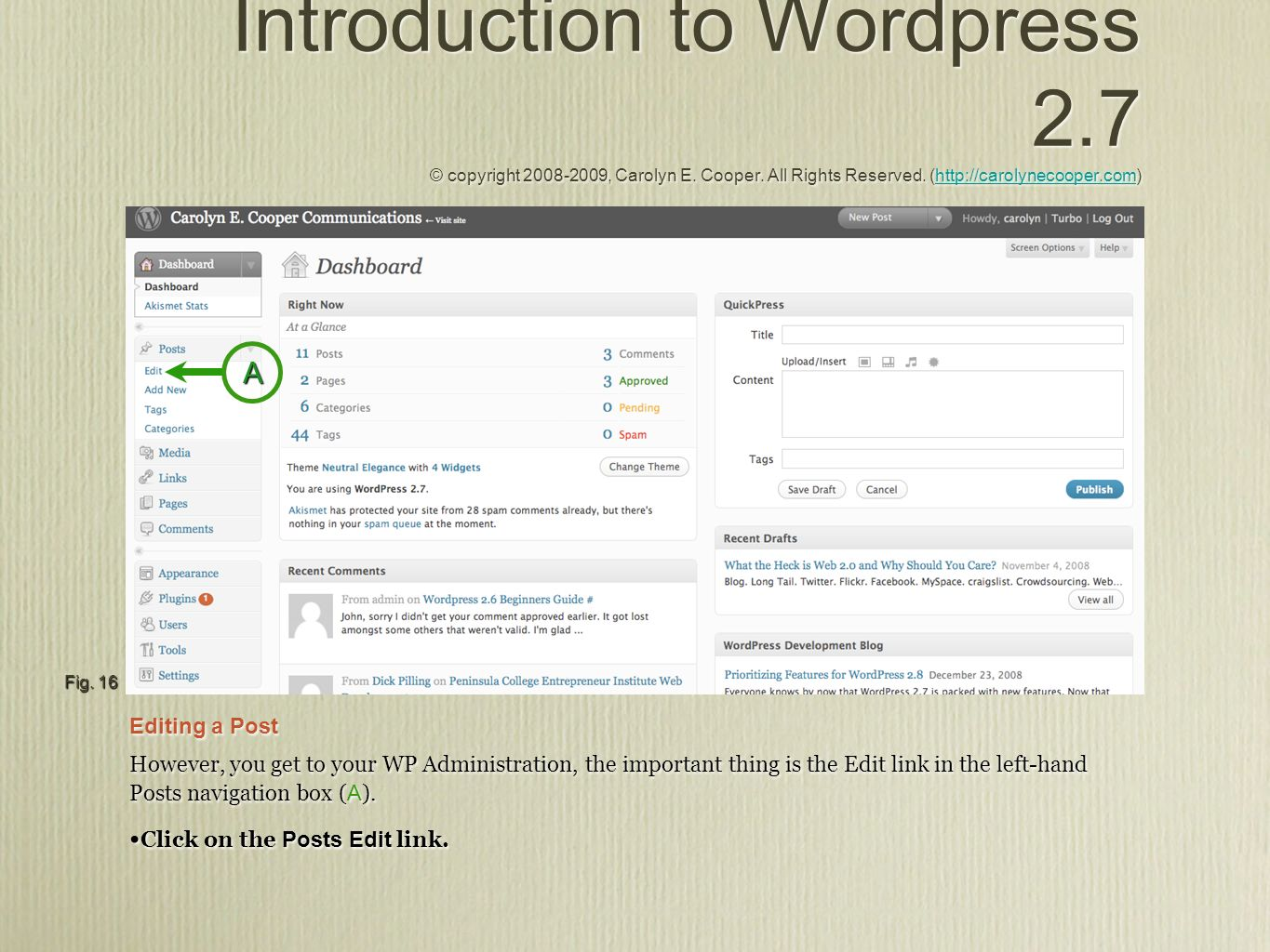 Introduction to Wordpress 2.7 © copyright 2008-2009, Carolyn E. Cooper. All Rights Reserved. (http://carolynecooper.com)http://carolynecooper.com Intr