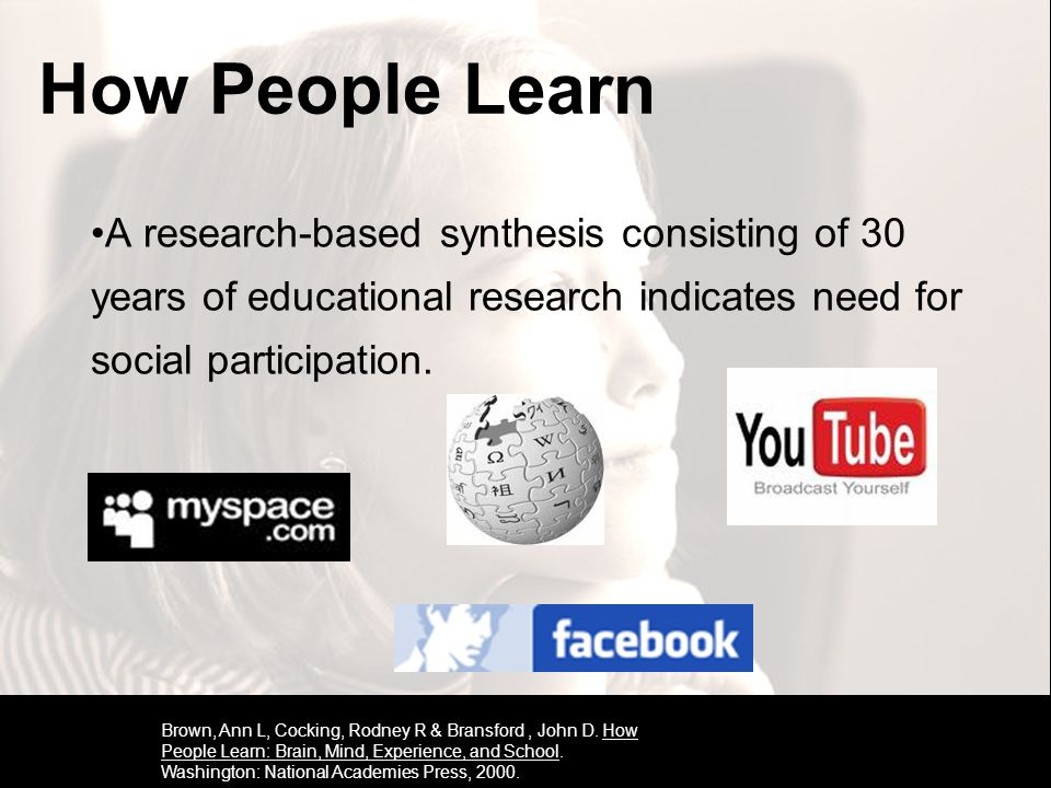 A research-based synthesis consisting of 30 years of educational research indicates need for social participation. Brown, Ann L, Cocking, Rodney R & B