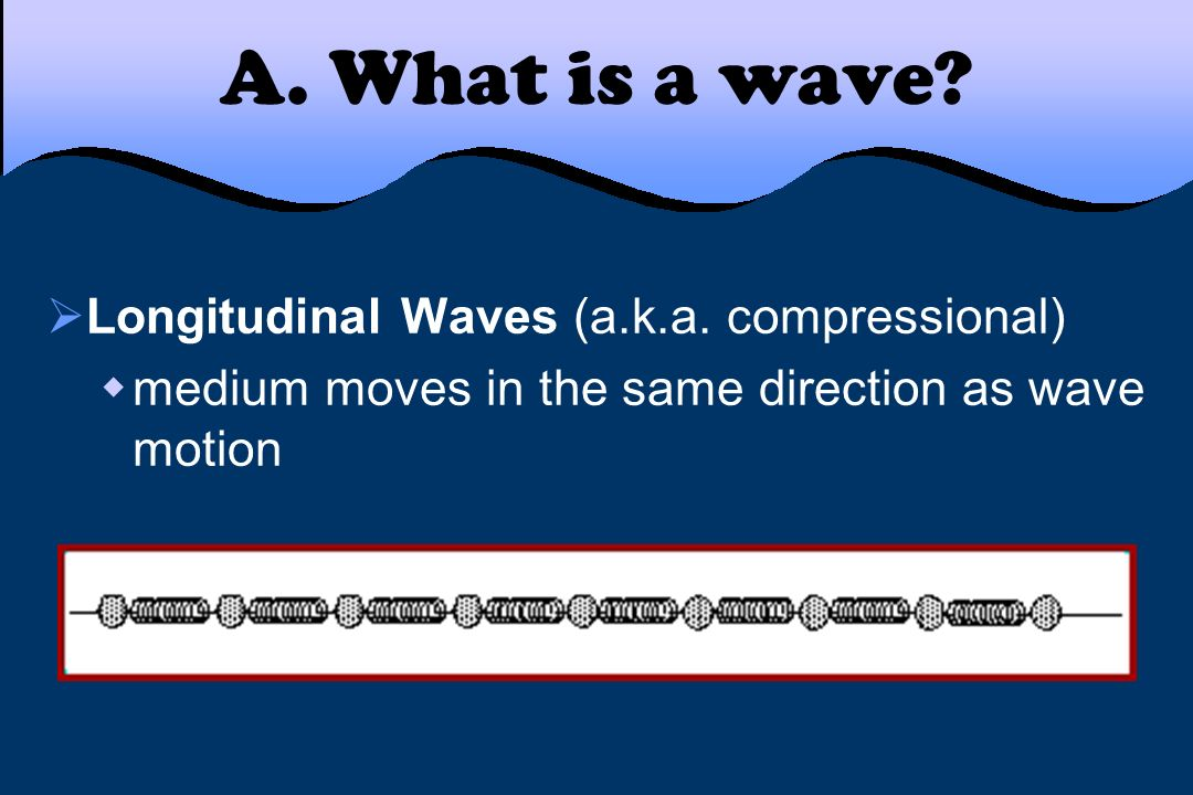 A. What is a wave? Longitudinal Waves (a.k.a. compressional) medium moves in the same direction as wave motion