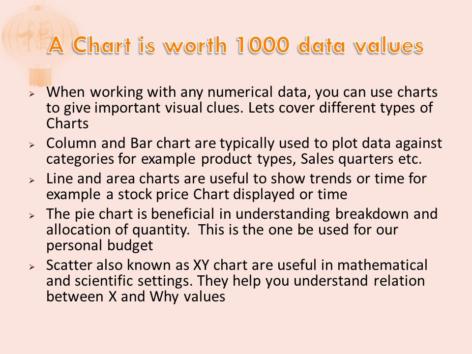We will start of with a 2-D Clustered Column Chart Next we will switch it to a 3-D Pie Chart Using Quick Syltes under Design Tab, we will try another one We will add a title and legend using quick layout Move chart to a new Excel Sheet Review Layout options