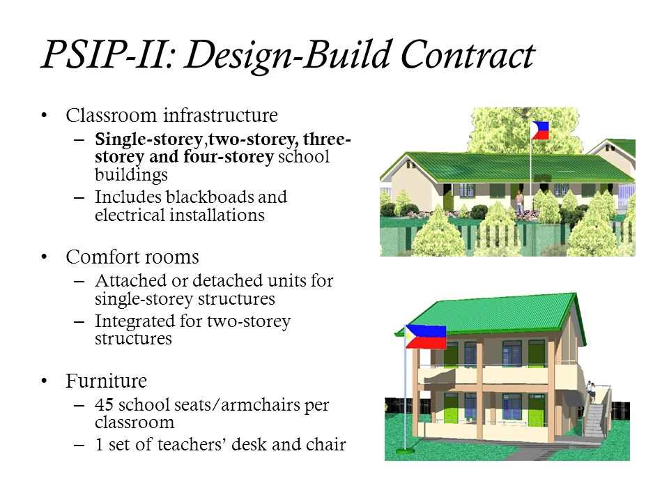 PSIP-II: Design-Build Contract Classroom infrastructure – Single-storey, two-storey, three- storey and four-storey school buildings – Includes blackbo
