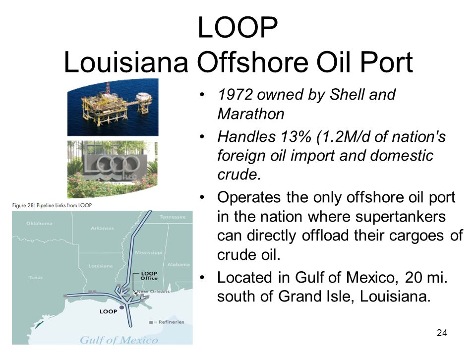 LOOP Louisiana Offshore Oil Port 1972 owned by Shell and Marathon Handles 13% (1.2M/d of nation's foreign oil import and domestic crude. Operates the