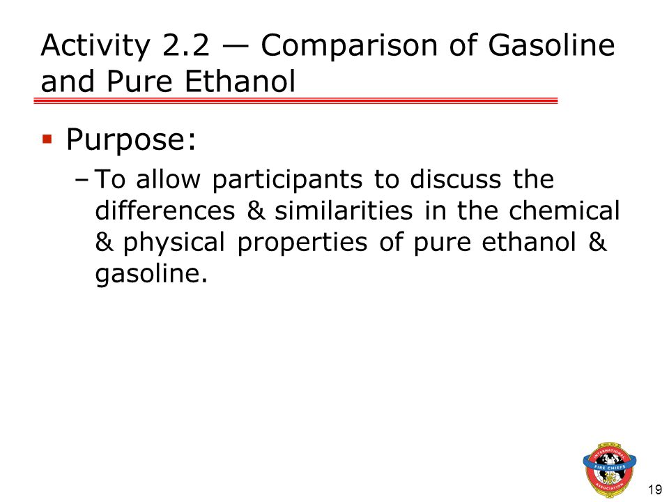 19 Activity 2.2 Comparison of Gasoline and Pure Ethanol Purpose: –To allow participants to discuss the differences & similarities in the chemical & ph