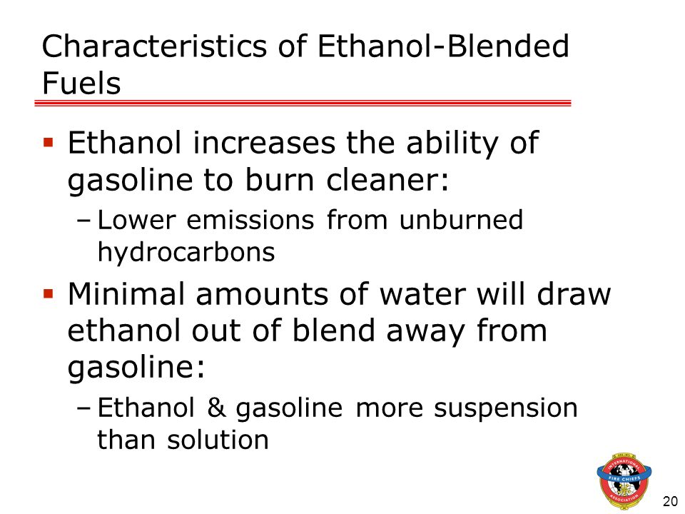 20 Characteristics of Ethanol-Blended Fuels Ethanol increases the ability of gasoline to burn cleaner: –Lower emissions from unburned hydrocarbons Min