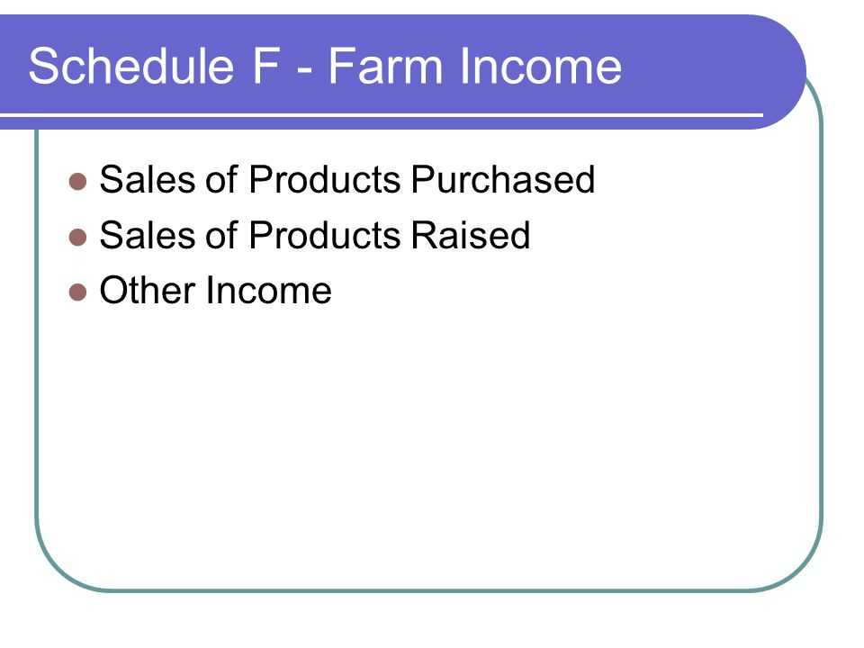 Schedule F - Farm Income Sales of Products Purchased Sales of Products Raised Other Income