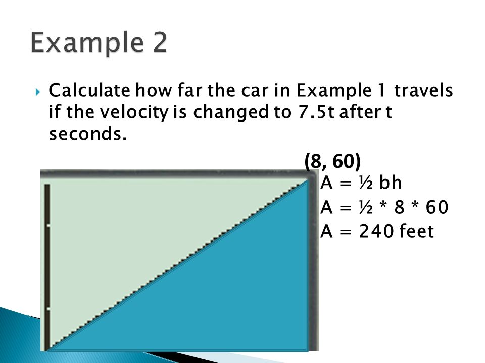 Calculate how far the car in Example 1 travels if the velocity is changed to 7.5t after t seconds. A = ½ bh A = ½ * 8 * 60 A = 240 feet (8, 60)