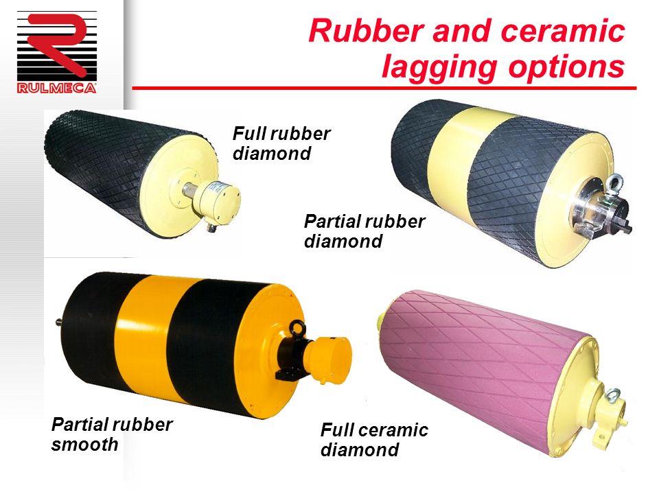 Rubber and ceramic lagging options Full rubber diamond Partial rubber smooth Partial rubber diamond Full ceramic diamond