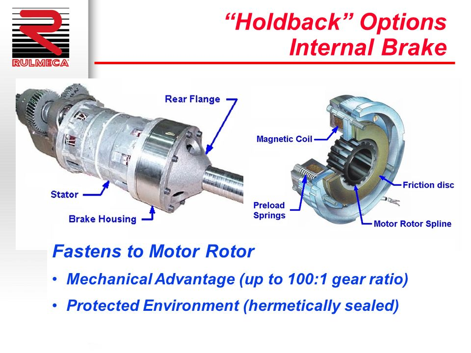 Holdback Options Internal Brake Fastens to Motor Rotor Mechanical Advantage (up to 100:1 gear ratio) Protected Environment (hermetically sealed)