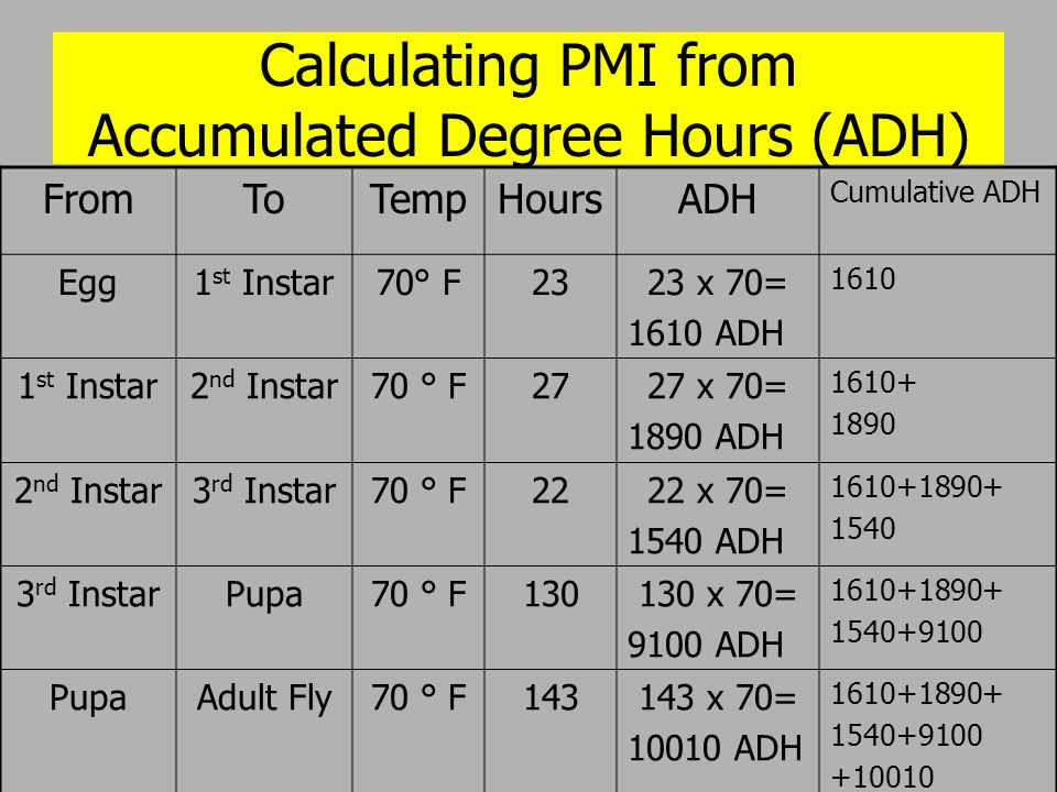 Calculating PMI from Accumulated Degree Hours (ADH) FromToTempHoursADH Cumulative ADH Egg1 st Instar70° F2323 x 70= 1610 ADH 1610 1 st Instar2 nd Inst