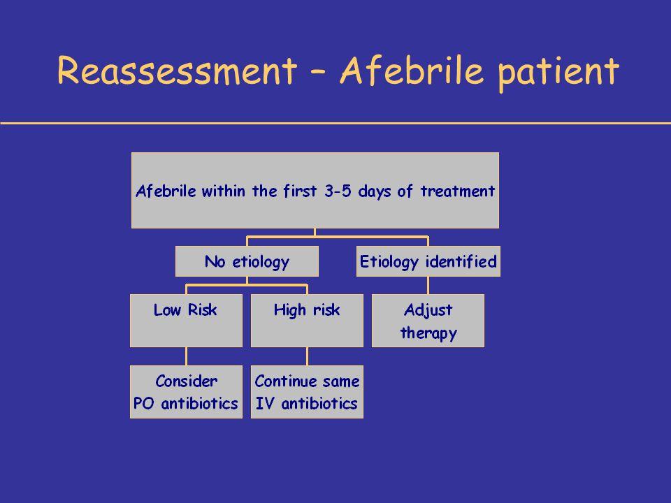 Reassessment – Afebrile patient