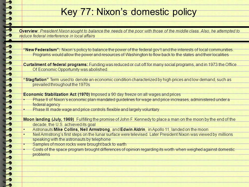 Key 77: Nixons domestic policy Environmental awareness: Related to the energy crisis was a growing public concern for environmental protection The pesticide DDT was banned in 1969 by the Agriculture Department The Clean Air Act was passed in 1970 The Environmental Protection Agency and the Occupational Safety and Health Administration (OSHA) were created in 1970 The Resource Recovery Act approved in 1970, provided money for states and cities to build solid-waste disposal systems and to recycle salvageable materials Development of supersonic air transport was dropped by Congress in 1971 The Clean Water Act was approved in 1972 Spiro T.