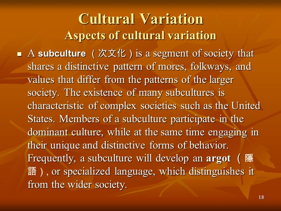 18 Cultural Variation Aspects of cultural variation A subculture is a segment of society that shares a distinctive pattern of mores, folkways, and val