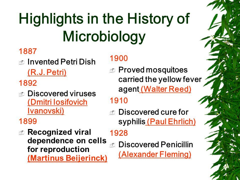 Highlights in the History of Microbiology 1887 Invented Petri Dish (R.J. Petri) 1892 Discovered viruses (Dmitri Iosifovich Ivanovski) (Dmitri Iosifovi