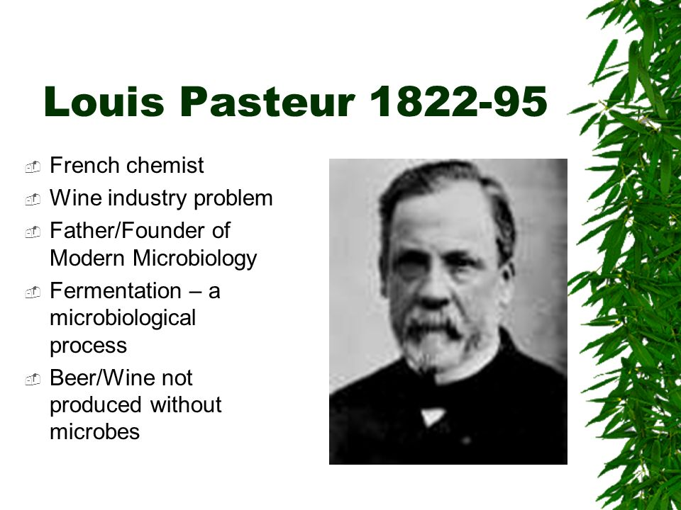 Louis Pasteur 1822-95 French chemist Wine industry problem Father/Founder of Modern Microbiology Fermentation – a microbiological process Beer/Wine no