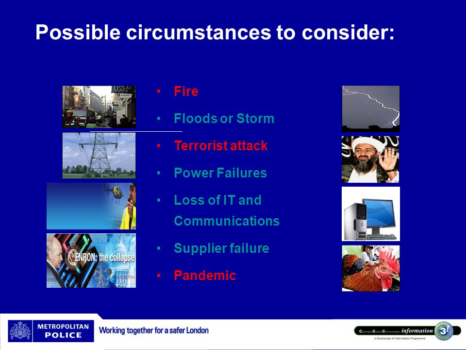 Possible circumstances to consider: Fire Floods or Storm Terrorist attack Power Failures Loss of IT and Communications Supplier failure Pandemic