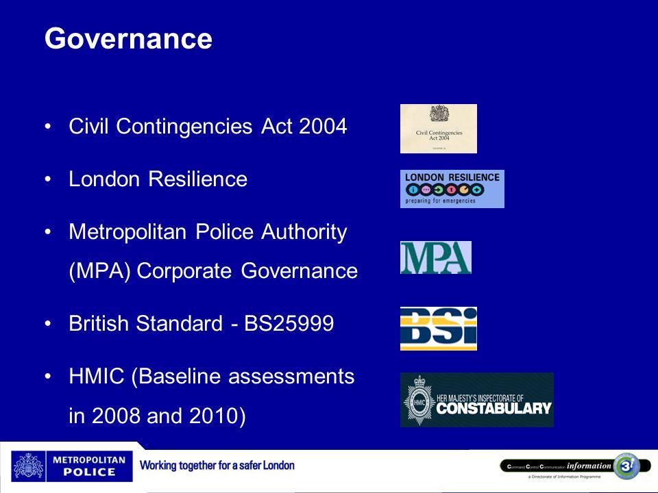 Governance Civil Contingencies Act 2004 London Resilience Metropolitan Police Authority (MPA) Corporate Governance British Standard - BS25999 HMIC (Ba