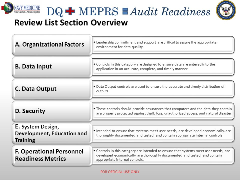 DQ MEPRS Audit Readiness A. Organizational Factors FOR OFFICIAL USE ONLY