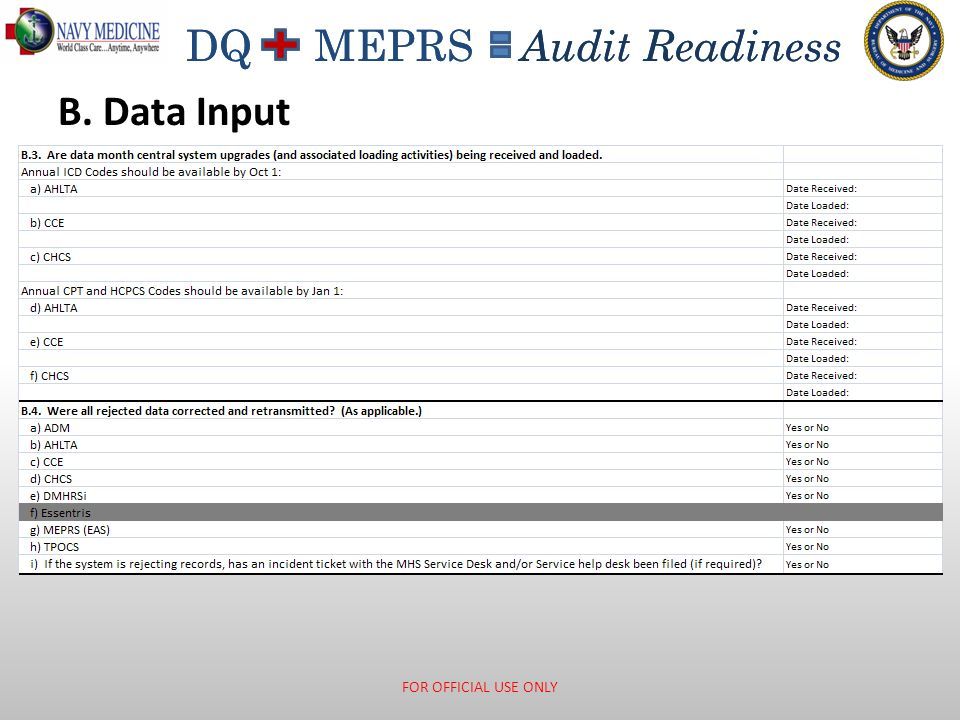 DQ MEPRS Audit Readiness B. Data Input FOR OFFICIAL USE ONLY