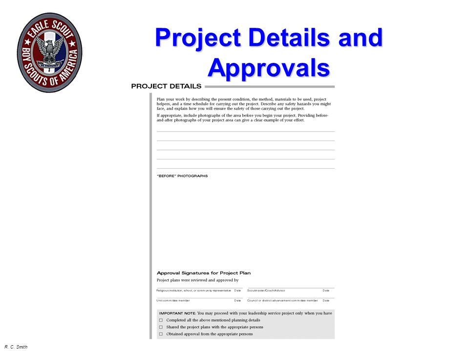 R. C. Smith Elements of the Project Plan Project Description Executive Summary Organization who will benefit How will they benefit Project Details: Pr