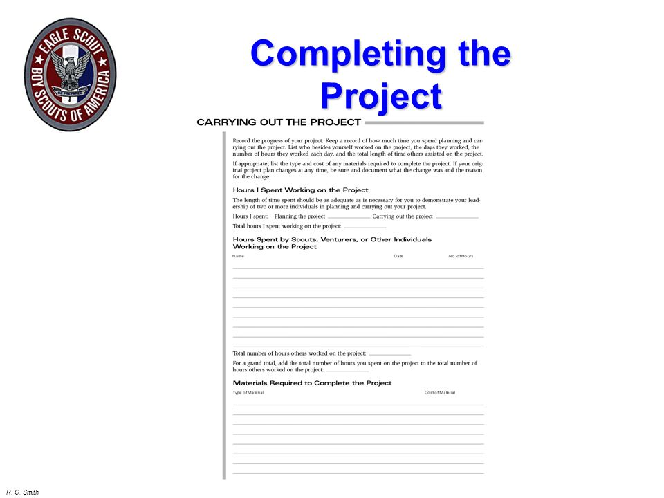 R. C. Smith Introduction Define the Project Concept Planning the Project Scheduling the Project Getting Project Approval Controlling the Project Compl