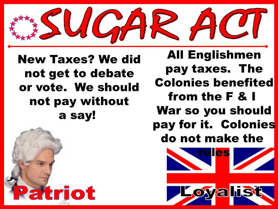 England Starts to Tax Colonists to pay F & I War debt Sugar Act: Tax on Sugar Colonists protest = tax lowered
