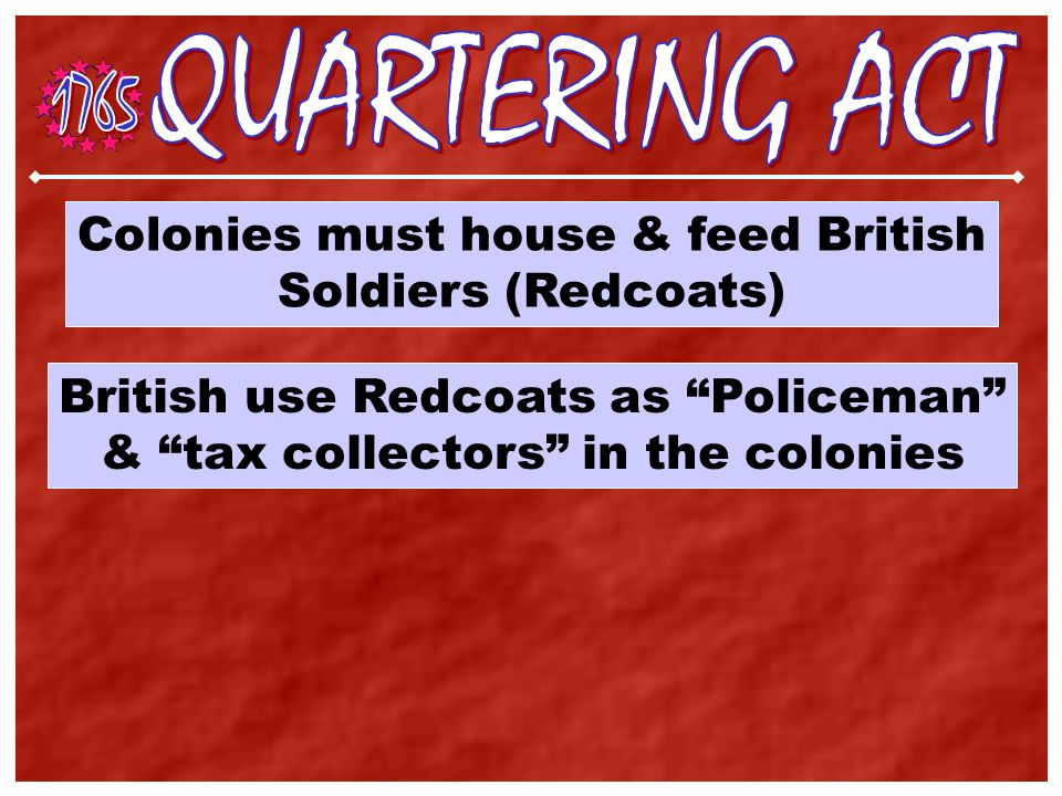 All Englishmen pay taxes. The Colonies benefited from the F & I War so you should pay for it.