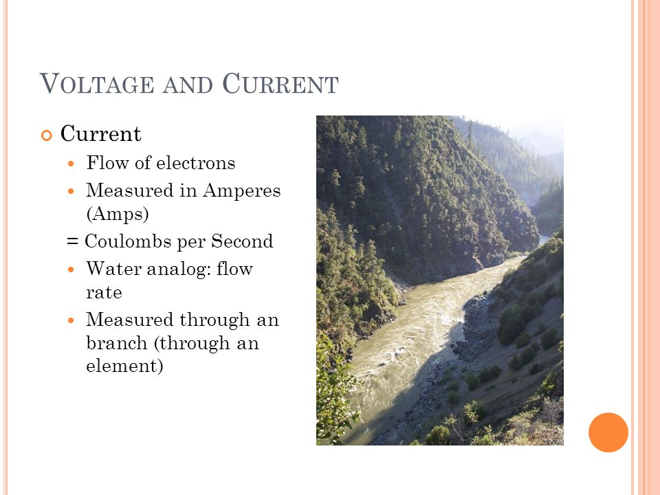V OLTAGE AND C URRENT Current Flow of electrons Measured in Amperes (Amps) = Coulombs per Second Water analog: flow rate Measured through an branch (through an element)