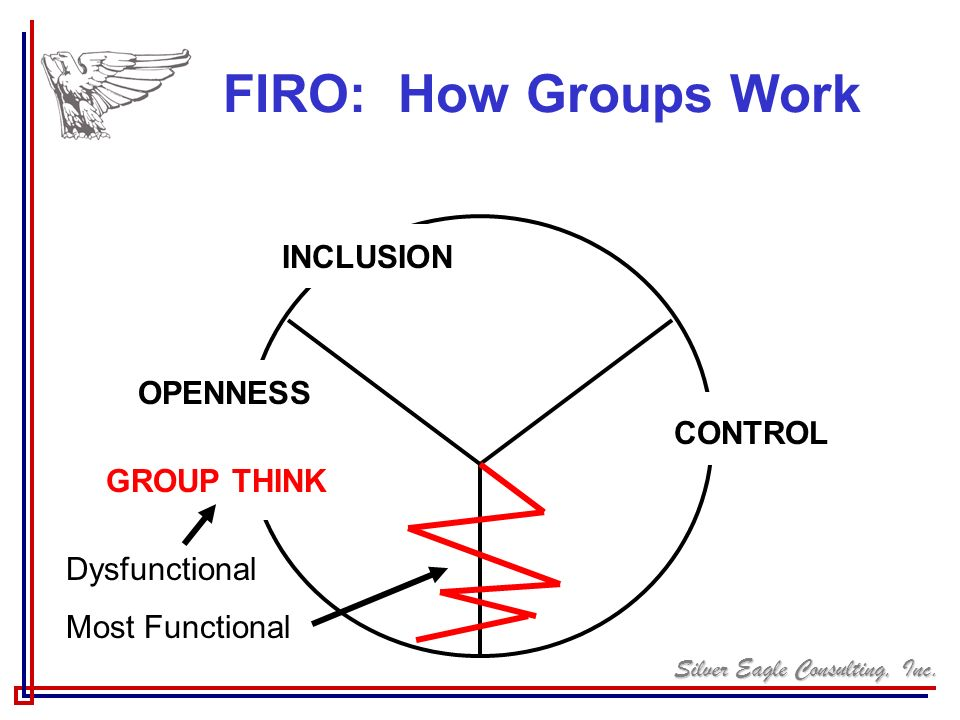 Silver Eagle Consulting, Inc. FIRO: How Groups Work CONTROL INCLUSION OPENNESS GROUP THINK Dysfunctional Most Functional