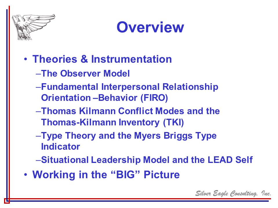 Silver Eagle Consulting, Inc. Overview Theories & Instrumentation –The Observer Model –Fundamental Interpersonal Relationship Orientation –Behavior (F