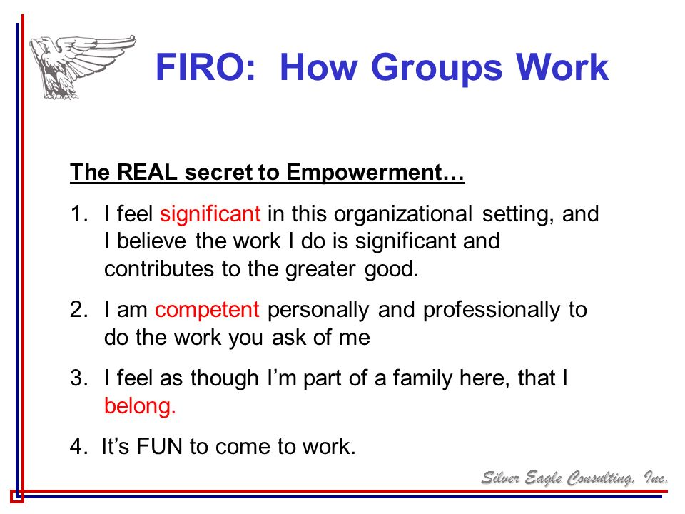 Silver Eagle Consulting, Inc. FIRO: How Groups Work The REAL secret to Empowerment… 1.I feel significant in this organizational setting, and I believe