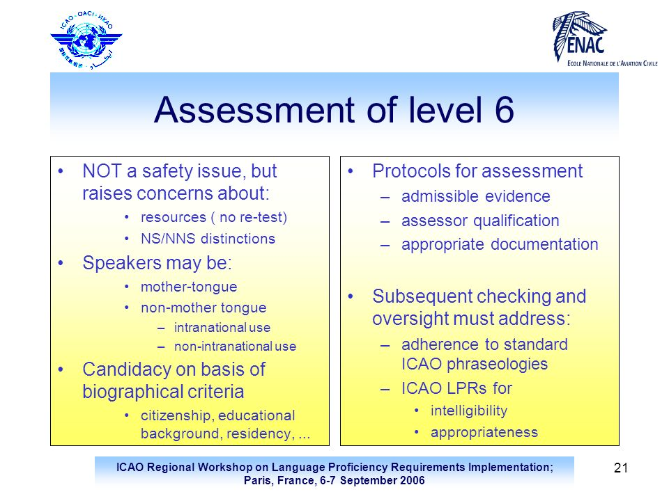 ICAO Regional Workshop on Language Proficiency Requirements Implementation; Paris, France, 6-7 September 2006 21 Assessment of level 6 NOT a safety is