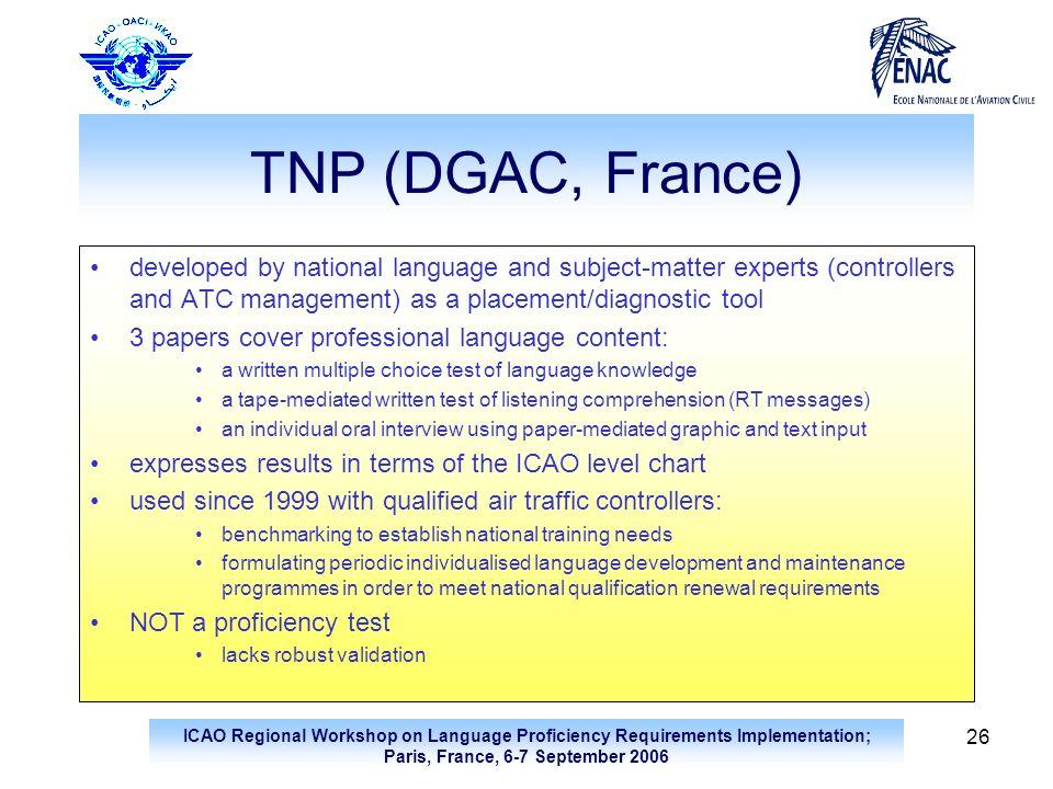 ICAO Regional Workshop on Language Proficiency Requirements Implementation; Paris, France, 6-7 September 2006 26 TNP (DGAC, France) developed by natio