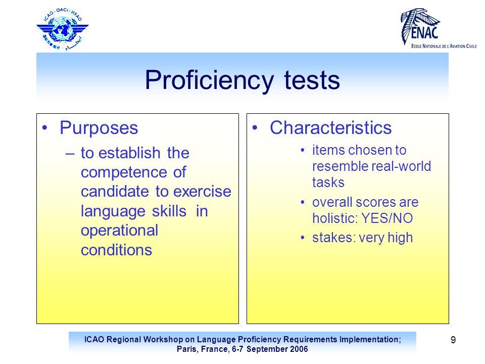 ICAO Regional Workshop on Language Proficiency Requirements Implementation; Paris, France, 6-7 September 2006 9 Proficiency tests Purposes –to establi