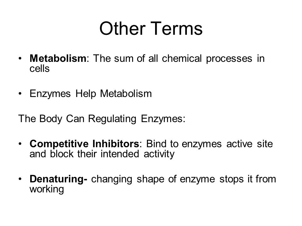 Other Terms Metabolism: The sum of all chemical processes in cells Enzymes Help Metabolism The Body Can Regulating Enzymes: Competitive Inhibitors: Bi