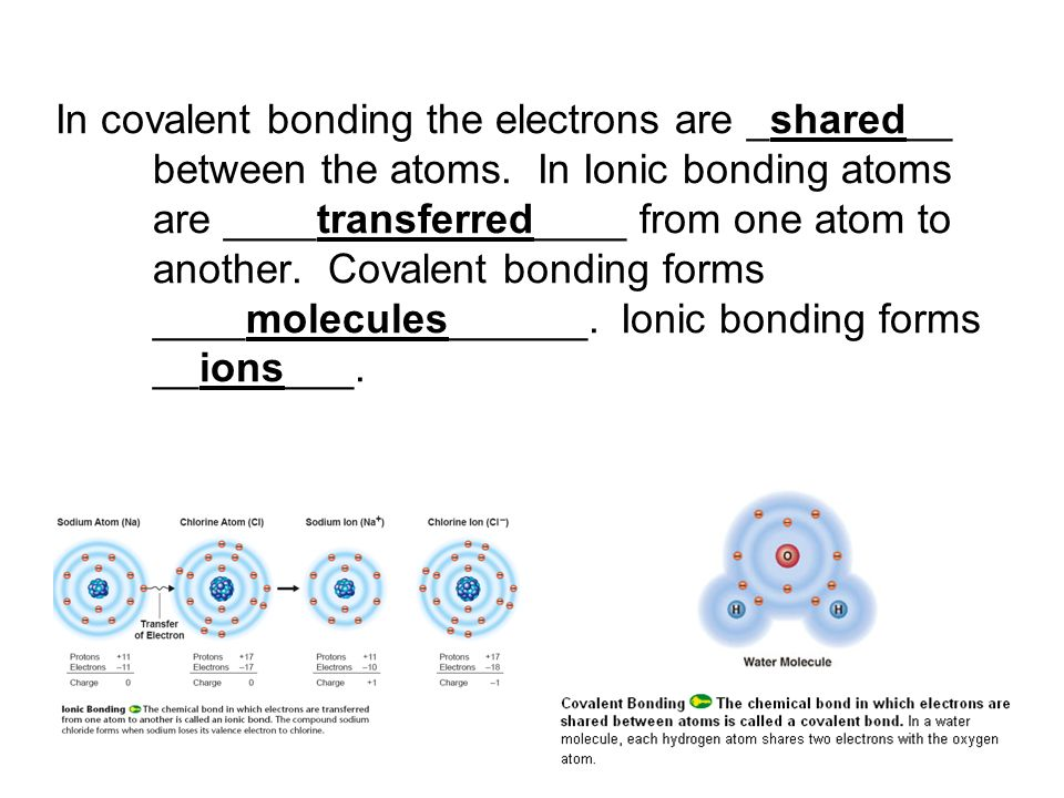 In covalent bonding the electrons are _shared__ between the atoms. In Ionic bonding atoms are ____transferred____ from one atom to another. Covalent b
