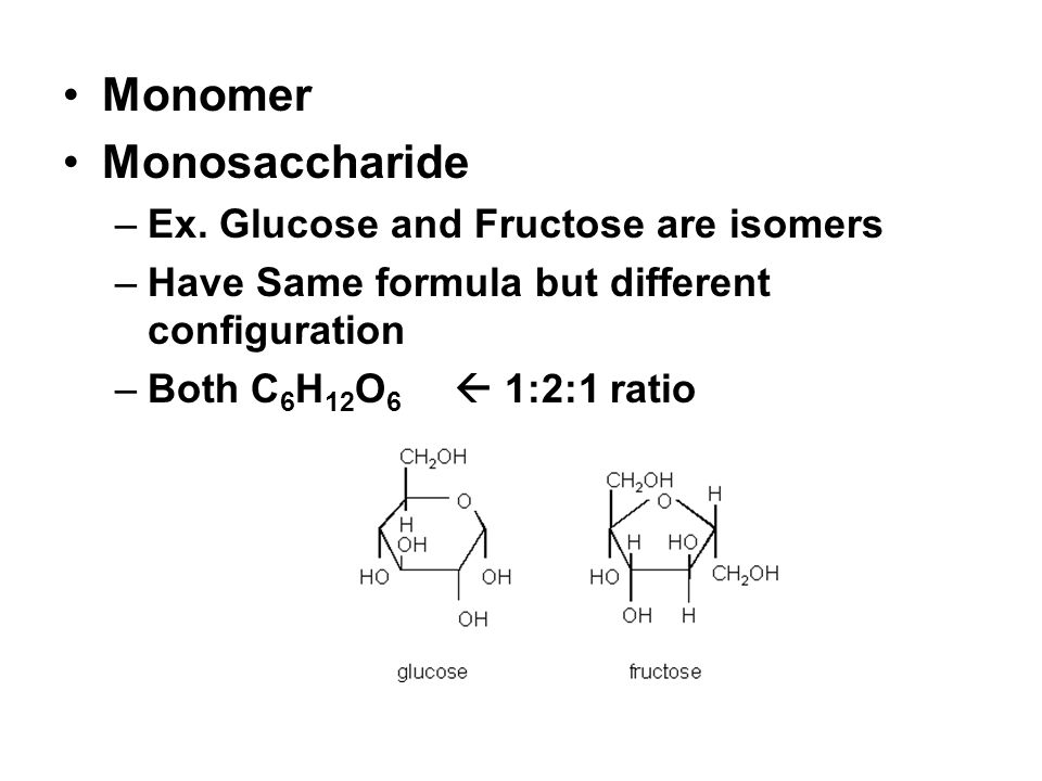 Monomer Monosaccharide –Ex. Glucose and Fructose are isomers –Have Same formula but different configuration –Both C 6 H 12 O 6 1:2:1 ratio