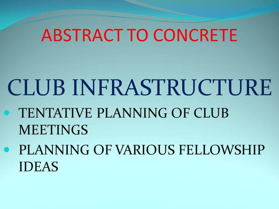 ABSTRACT TO CONCRETE CLUB INFRASTRUCTURE TENTATIVE PLANNING OF CLUB MEETINGS PLANNING OF VARIOUS FELLOWSHIP IDEAS