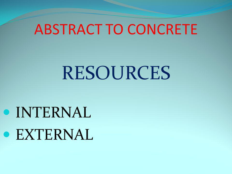 ABSTRACT TO CONCRETE RESOURCES INTERNAL EXTERNAL