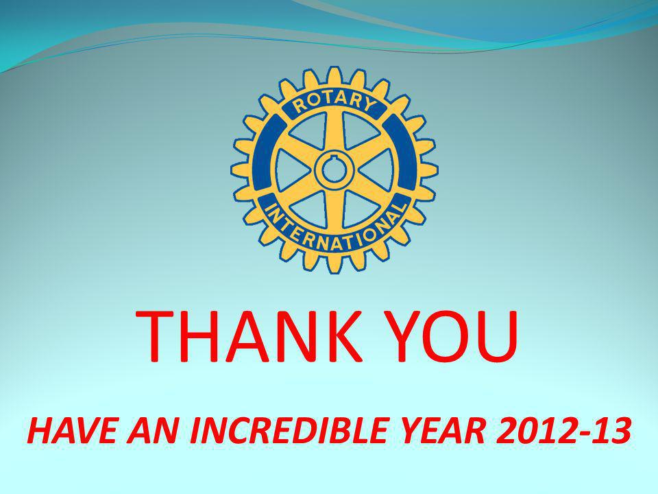 HAVE AN INCREDIBLE YEAR 2012-13 THANK YOU