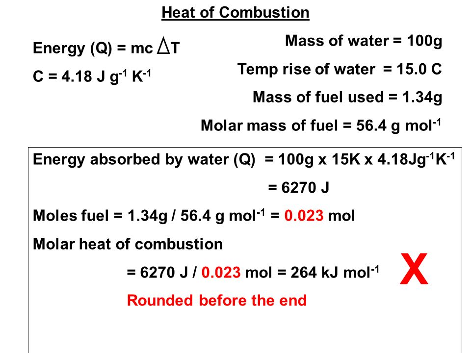 Heat of Combustion Mass of water = 100g Temp rise of water = 15.0 C Mass of fuel used = 1.34g Molar mass of fuel = 56.4 g mol -1 Energy (Q) = mc T C = 4.18 J g -1 K -1 Energy absorbed by water (Q) = 100g x 15K x 4.18Jg -1 K -1 = 6270 J Moles fuel = 1.34g / 56.4 g mol -1 = 0.023 mol Molar heat of combustion = 6270 J / 0.023 mol = 264 kJ mol -1 Rounded before the end X